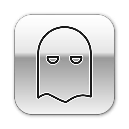 Black line Executioner mask icon isolated on white background. Hangman, torturer, executor, tormentor, butcher, headsman icon. Silver square button. Vector Illustration