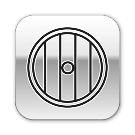 Black line Round wooden shield icon isolated on white background. Security, safety, protection, privacy, guard concept. Silver square button. Vector Illustration Ilustracja