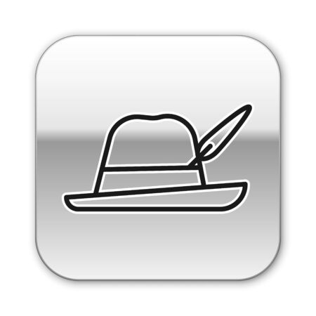 Black line Oktoberfest hat icon isolated on white background. Hunter hat with feather. German hat. Silver square button. Vector Illustration