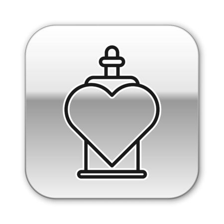 Black line Bottle with love potion icon isolated on white background. Valentines day symbol. Silver square button. Vector Illustration