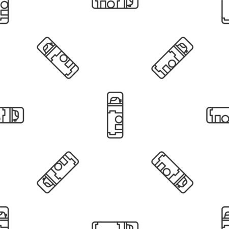 Grey line Shaving gel foam icon isolated seamless pattern on white background. Shaving cream. Vector Illustration