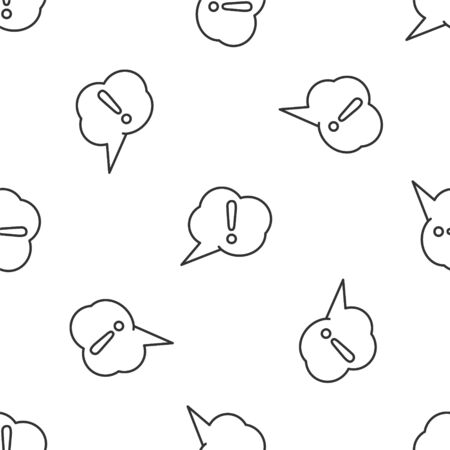 Grey line Speech bubble and Exclamation icon isolated seamless pattern on white background. FAQ sign. Copy files, chat speech bubble and chart. Vector Illustration