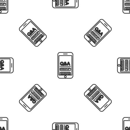 Grey line Mobile phone with Question and Exclamation icon isolated seamless pattern on white background. Frequently asked questions. Vector Illustration