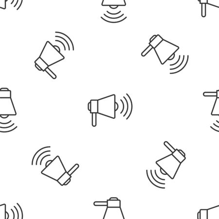 Grey line Megaphone icon isolated seamless pattern on white background. Loud speach alert concept. Bullhorn for Mouthpiece scream promotion. Vector Illustration Ilustrace