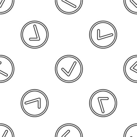 Grey line Check mark in circle icon isolated seamless pattern on white background. Choice button sign. Checkmark symbol. Vector Illustration Ilustração