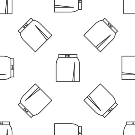 Grey line Skirt icon isolated seamless pattern on white background. Vector Illustration