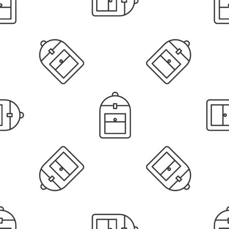 Grey line Backpack icon isolated seamless pattern on white background. Vector Illustration