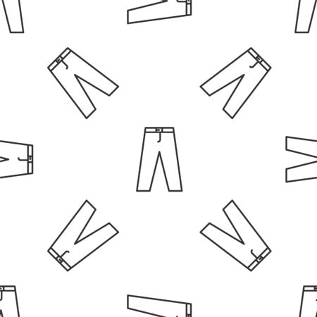 Grey line Pants icon isolated seamless pattern on white background. Vector Illustration
