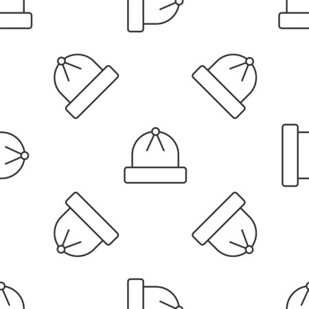 Grey line Winter hat icon isolated seamless pattern on white background. Vector Illustration