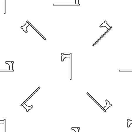 Grey line Medieval axe icon isolated seamless pattern on white background. Battle axe, executioner axe. Medieval weapon. Vector Illustration