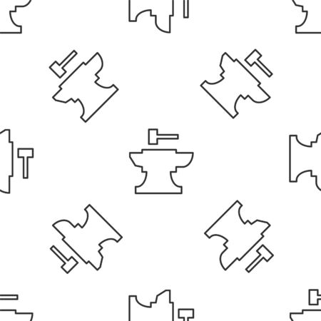 Grey line Anvil for blacksmithing and hammer icon isolated seamless pattern on white background. Metal forging. Forge tool. Vector Illustration Ilustracja