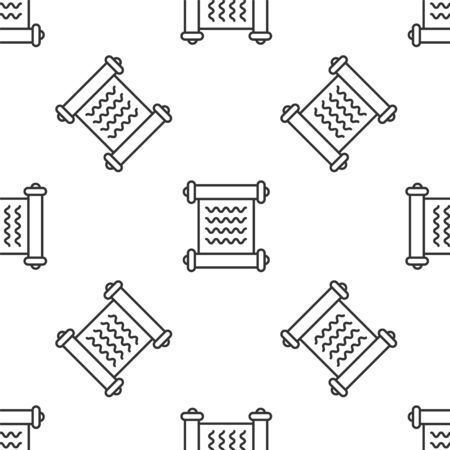 Grey line Decree, paper, parchment, scroll icon icon isolated seamless pattern on white background. Vector Illustration