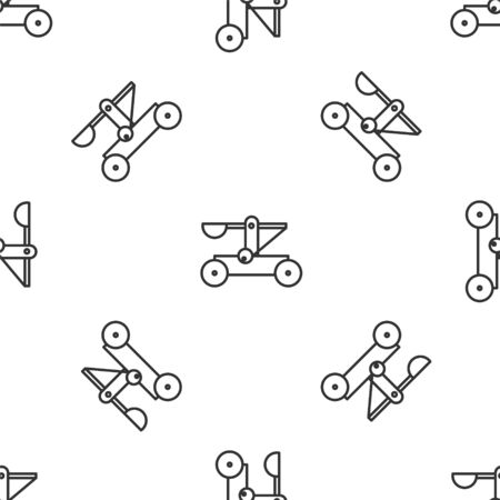 Grey line Old medieval wooden catapult shooting stones icon isolated seamless pattern on white background. Vector Illustration