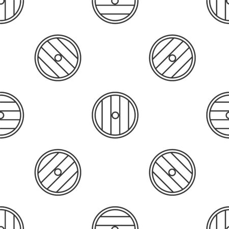 Grey line Round wooden shield icon isolated seamless pattern on white background. Security, safety, protection, privacy, guard concept. Vector Illustration