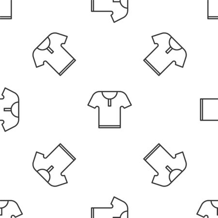 Grey line Body armor icon isolated seamless pattern on white background. Vector Illustration