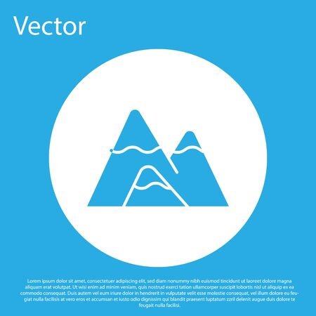 Blue Mountains icon isolated on blue background. Symbol of victory or success concept. White circle button. Vector Illustration