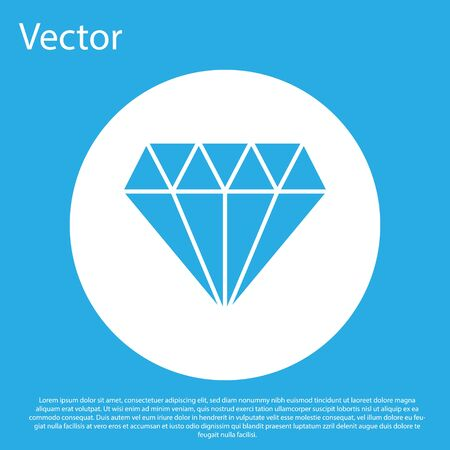 Blue Diamond icon isolated on blue background. Jewelry symbol. Gem stone. White circle button. Vector Illustration