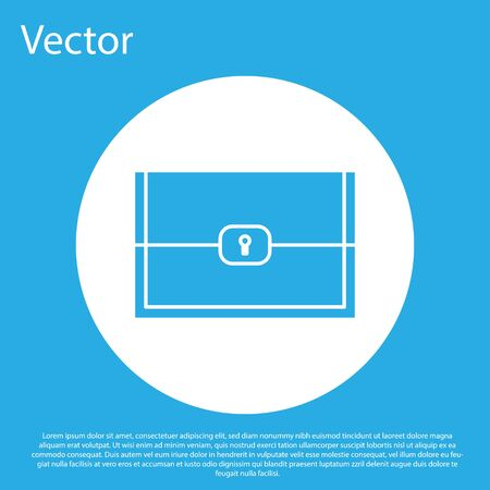 Blue Chest for game icon isolated on blue background. White circle button. Vector Illustration Illustration