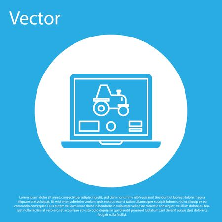 Blue Laptop application for control a autonomous tractor on a smart farm icon isolated on blue background. Smart agriculture implement. White circle button. Vector Illustration Ilustrace