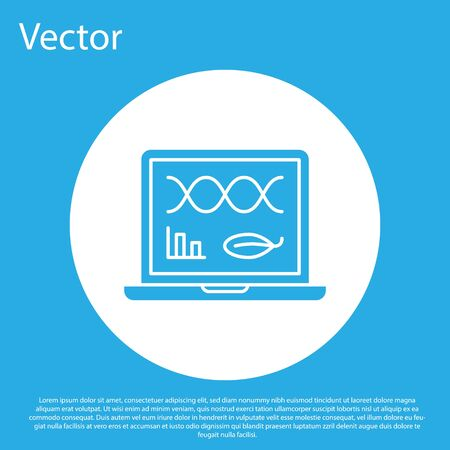 Blue Genetic engineering modification on laptop icon isolated on blue background. DNA analysis, genetics testing, cloning. White circle button. Vector Illustration
