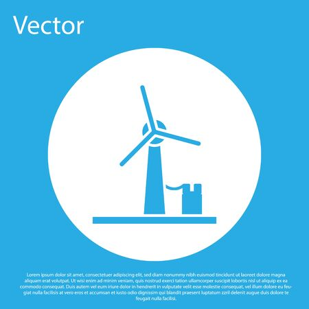 Blue Wind turbine icon isolated on blue background. Wind generator sign. Windmill for electric power production. White circle button. Vector Illustration