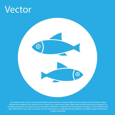 Blue Fish icon isolated on blue background. White circle button. Vector Illustration