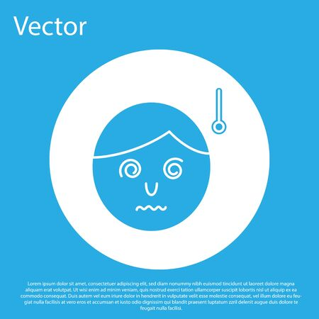 Blue High human body temperature or get fever icon isolated on blue background. Disease, cold, flu symptom. White circle button. Vector Illustration 向量圖像