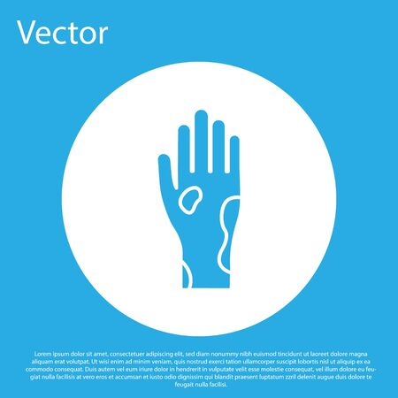Blue Hand with psoriasis or eczema icon isolated on blue background. Concept of human skin response to allergen or chronic body problem. White circle button. Vector Illustration
