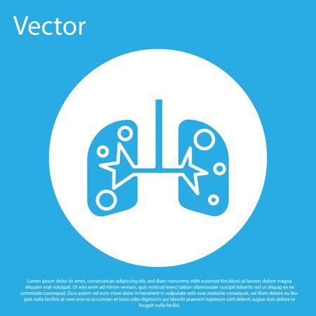Icono de pulmones azul aislado sobre fondo azul. Botón de círculo blanco. Ilustración vectorial