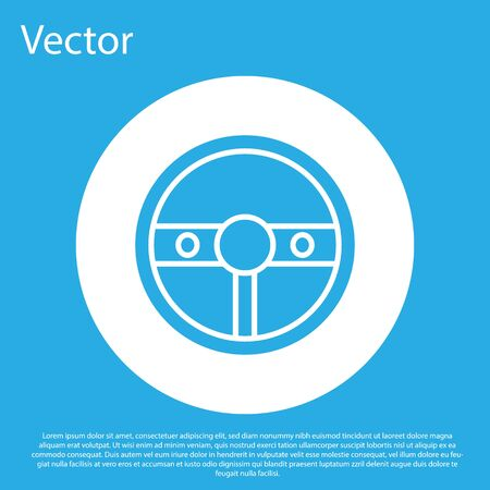 Blue Steering wheel icon isolated on blue background. Car wheel icon. White circle button. Vector Illustration