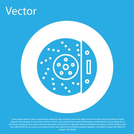 Blue Car brake disk with caliper icon isolated on blue background. White circle button. Vector Illustration Vectores
