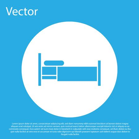 Blue Bed icon isolated on blue background. White circle button. Vector Illustration Çizim