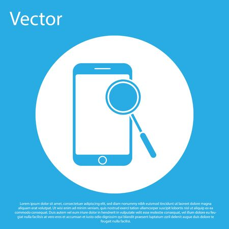 Blue Mobile phone diagnostics icon isolated on blue background. Adjusting app, service, setting options, maintenance, repair, fixing. White circle button. Vector Illustration