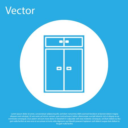 Blue Wardrobe icon isolated on blue background. White circle button. Vector Illustration