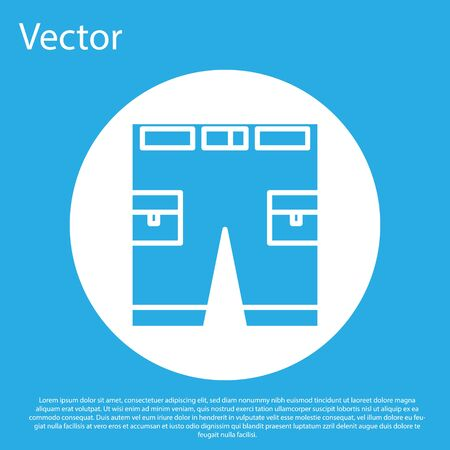 Blue Short or pants icon isolated on blue background. White circle button. Vector Illustration