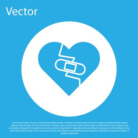 Blue Healed broken heart or divorce icon isolated on blue background. Shattered and patched heart. Love symbol. Valentines day. White circle button. Vector Illustration