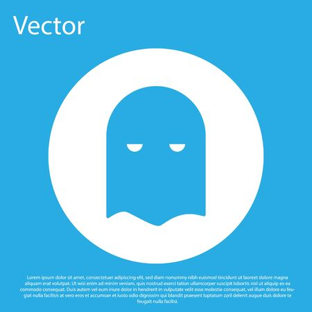 Blue Executioner mask icon isolated on blue background. Hangman, torturer, executor, tormentor, butcher, headsman icon. White circle button. Vector Illustration