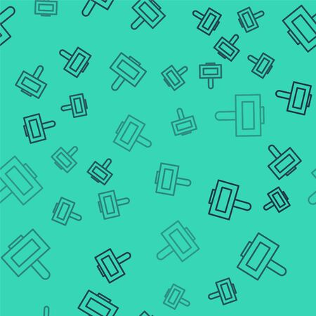 Black line Nail polish bottle icon isolated seamless pattern on green background. Vector Illustration