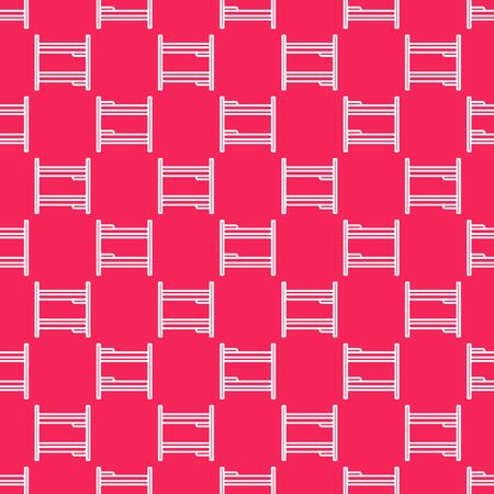 White line Bunk bed icon isolated seamless pattern on red background. Vector Illustration