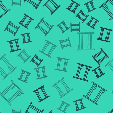 Black line Bunk bed icon isolated seamless pattern on green background. Vector Illustration