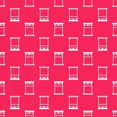 White line Big bed for two or one person icon isolated seamless pattern on red background. Vector Illustration