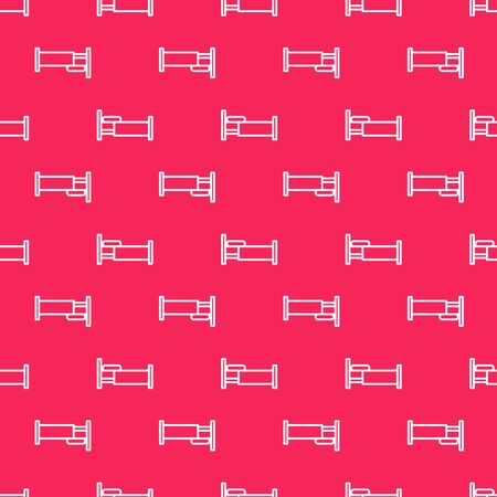 White line Bed icon isolated seamless pattern on red background. Vector Illustration Çizim