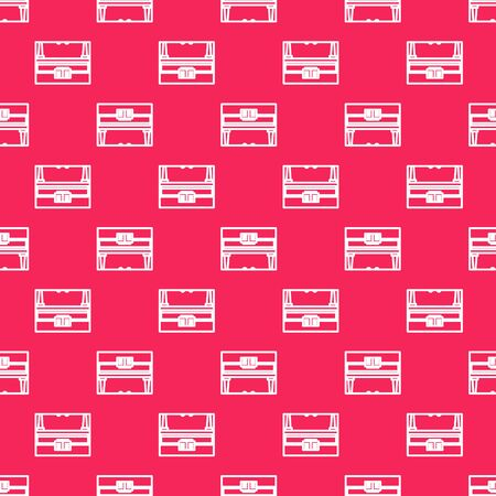 White line Grand piano icon isolated seamless pattern on red background. Musical instrument. Vector Illustration Vettoriali