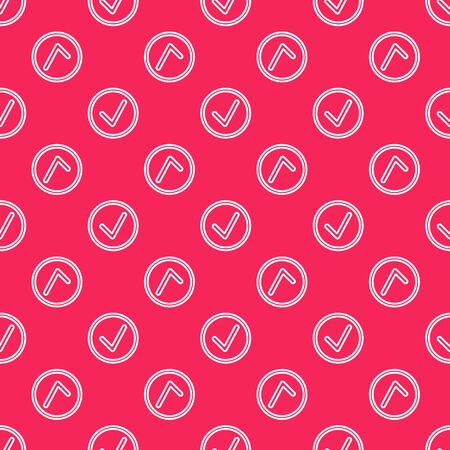 White line Check mark in circle icon isolated seamless pattern on red background. Choice button sign. Checkmark symbol. Vector Illustration Ilustração