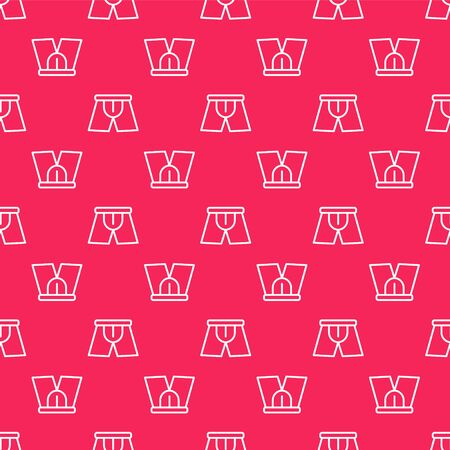 White line Men underpants icon isolated seamless pattern on red background. Man underwear. Vector Illustration Archivio Fotografico - 138149062