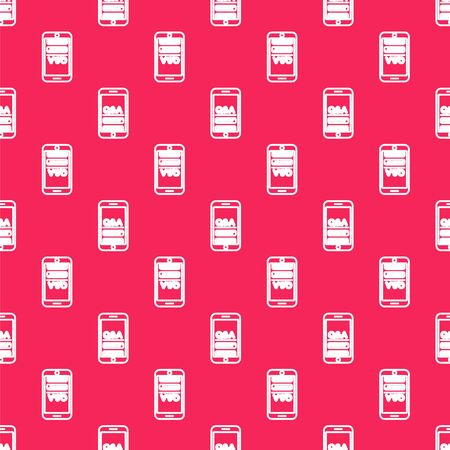 White line Mobile phone with Question and Exclamation icon isolated seamless pattern on red background. Frequently asked questions. Vector Illustration Reklamní fotografie - 138149085