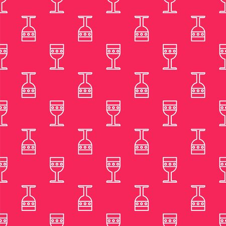 White line Medieval goblet icon isolated seamless pattern on red background. Vector Illustration