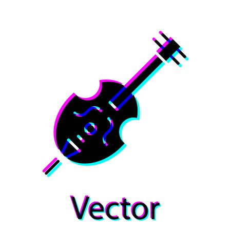 Black Violin icon isolated on white background. Musical instrument. Vector Illustration
