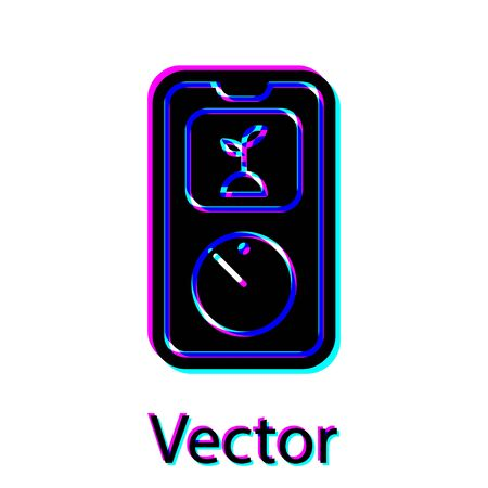 Black Smart farming technology - timer farm automation system in app icon isolated on white background. Vector Illustration Çizim