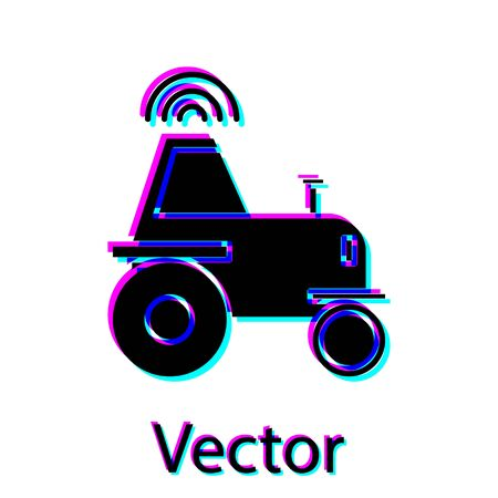 Black Self driving wireless tractor on a smart farm icon isolated on white background. Smart agriculture implement element. Vector Illustration